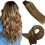 LaaVoo 16 Pulgadas Natural Tejido de Extensiones de Pelo Remy Humano Weaving Bundles Hair 100GR Balayage Marron Oscuro Ombre Caramelo Rubio #4/27/4 Extensiones De Cabello Cortina