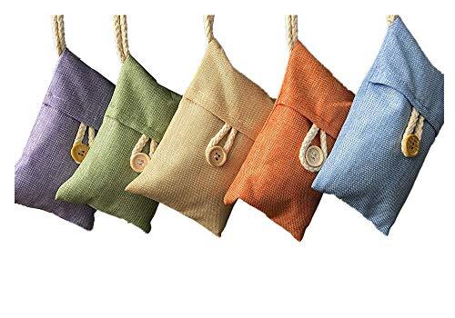 Xshelley 5 Pack*100g Natuurlijke Luchtzuiverende Bamboe Houtskool Tas voor Thuis Koelkast, Vriezers, kasten, Auto en Schoenen (Oranje, paars, beige, blauw, groen)