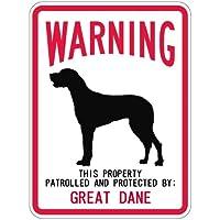 WARNING PATROLLED AND PROTECTED GREAT DANE マグネットサイン:グレートデーン(スモール) 警告 資産 警戒 保護.