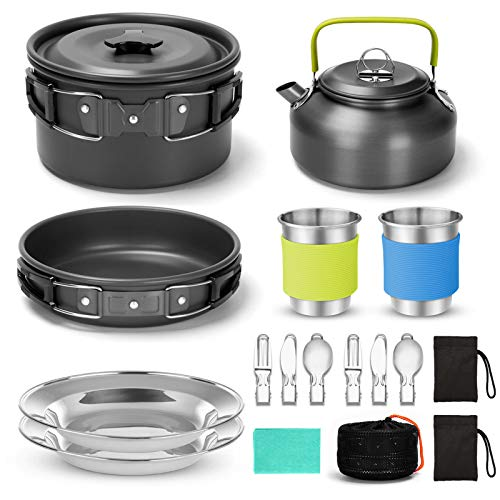 Lightweight Pots Pans With Mesh Camping Cookware Set Cooking Mess Kit Nonstick
