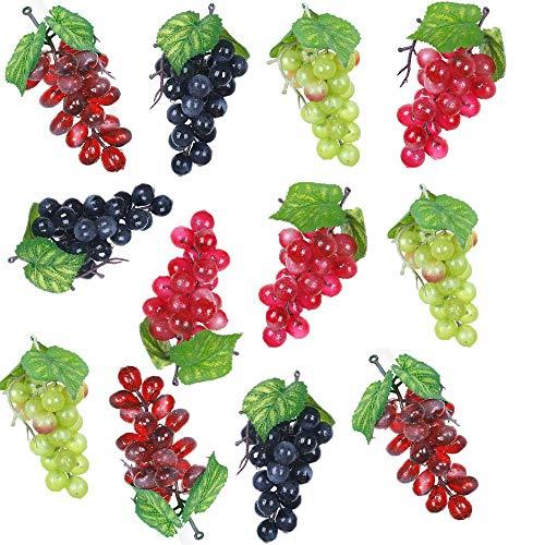 Nirmon 12 Racimos de Uvas Artificiales Simulación Decorativa Realista Racimos de Uvas Falsas para Boda Vino Centro de Mesa de Cocina