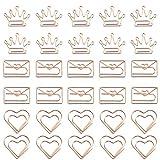 30 Piezas Marcapáginas De Clips De Papel De Metal Clips De Papel De Forma Creativa Clip De Papel De Oro Rosa Para Invitaciones Decorativas, Postales, Invitaciones De Boda, Libros, Cuadernos, Etc.