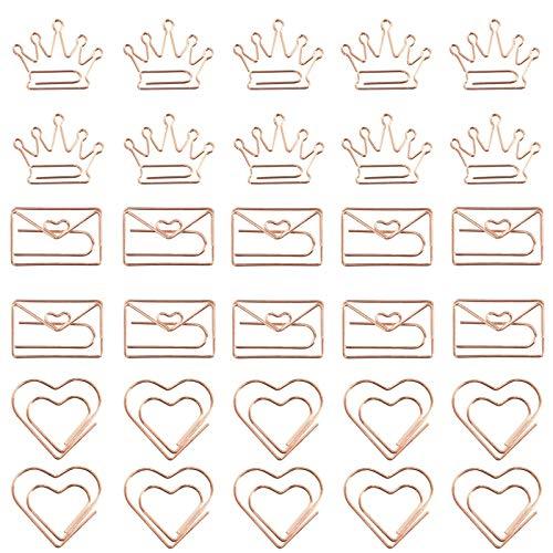 30 Stück Kreative Lesezeichen Büroklammern Deko Büroklammern Metal Büroklammern Herz Formen Papier Clips Für Home Büro Schule Für Dekorative Einladungen, Postkarten, Hochzeitskarten, Bücher, Hefte Usw