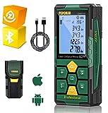Medidor Láser 60m, POPOMAN Telémetro Láser (Bluetooth4.0 + App), Niveles de Burbuja con Carga Rápida USB, 99 datos, Función de Silencio, 2,25'' LCD Retroiluminado, IP54- LMBT60