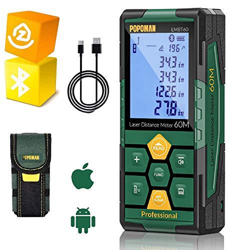Medidor Láser 60m, POPOMAN Telémetro Láser (Bluetooth4.0 + App), Niveles de Burbuja con Carga Rápida USB, 99 datos, Función de Silencio, 2,25