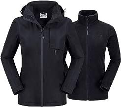 Womens Ski Jacket 3 in 1 Waterproof Winter Jacket Raincoat Windproof Hooded Snowboarding Jackets Coat with Warm Fleece Jacket