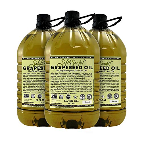 Salute Sante! Grapeseed Oil for High Temperature Cooking, Healthy Grape Seed Oil, Non-GMO and Kosher for Salad Dressings, Marinades and Dips (5 Liter, 3 Pack)
