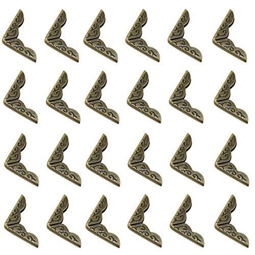 Xinlie 24 PCS Protector de Esquina de Libro de Metal Esquina de Álbum Esquina de Triángulo de Estilo Retro Metal de bronce antiguo libro esquina álbumes Menús Carpetas Protectores de Metal Corner