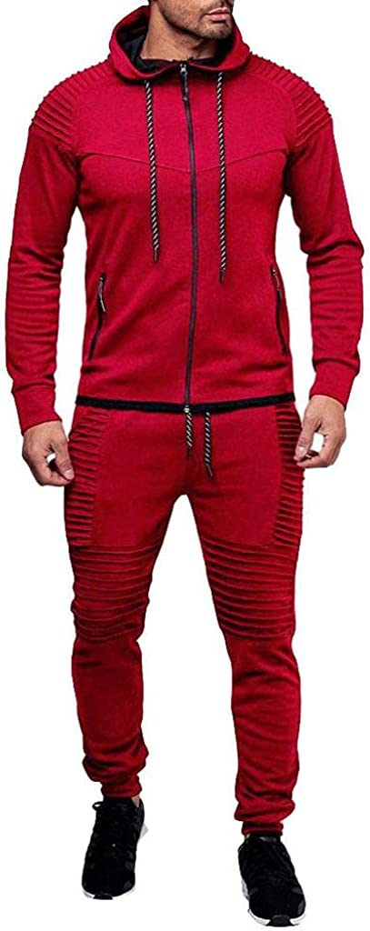 Mens Outdoor 2 Piece Outfit Hoodie Hip Hop Sweatsuits Sport Sets Matching Casual Hoodie Sweatpants Suit