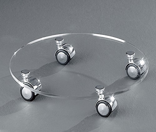 HOWE-Deko Hochwertiger Acryl-Glas Blumenrolli mit 4 verchromten Rollen, klar, Ø 35 cm, Acryl-Glas-Stärke 8 mm