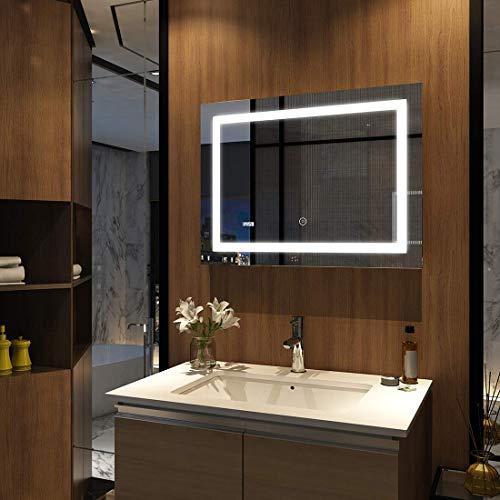 Meykoers wandspiegel badkamerspiegel LED badkamerspiegel met verlichting 80x60cm met klok, aanraakschakelaar en anti-condens, lichtspiegel koudwit 6400K