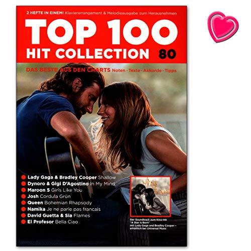 Top 100 Hit Collection 80 Lady Gaga, Maroon 5, El Profesor: Notas – Textos – acordes – Consejos – Libro con clip en forma de corazón