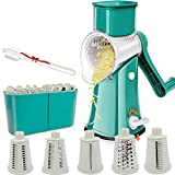 Aurrako Rotary Cheese Grater Shredder with Handle,Kitchen Vegetable slicer with 5 Stainless Steel Blades,Easy Clean 18X Faster Food Grater,Non slip Best Mandoline Slicer Parmesan Cheese Grater (Green)