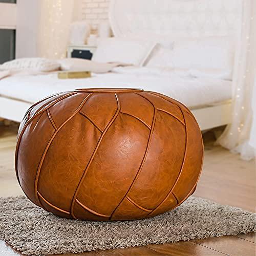 WWZ Wohnzimmer Pouf Hocker, Handgefertigter Kunstleder Polsterhocker, Ungefüllter Sitzpouf (Runden)