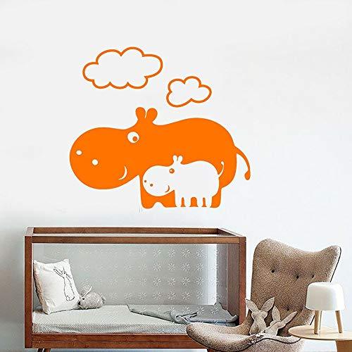 Calcomanías de vinilo para pared de dibujos animados hipopótamo familia bebé habitación de los niños dormitorio decoración del hogar pegatinas de vinilo para ventanas kindergarten arte mural