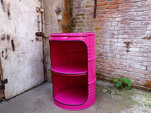 Fassmöbel Fass Design Regal Ölfass Möbel 210 Liter Volumen Farbe Pink/Beleuchtung mit 2 Lampenfassungen