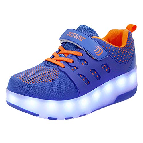 Unisex Niños Niños Niñas LED Moda Rollerblades Sneaker Doble Ruedas Skateboarding Zapatos LED USB Carga 7 Colores Flashing Casual Zapatos Gimnasia Aptitud Aire Libre Deporte Zapatos