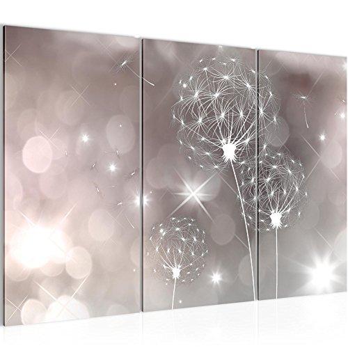 Bilder Blumen Pusteblume Wandbild 120 x 80 cm Vlies - Leinwand Bild XXL Format Wandbilder Wohnzimmer Wohnung Deko Kunstdrucke Rosa Grau 3 Teilig - MADE IN GERMANY - Fertig zum Aufhängen 206731c
