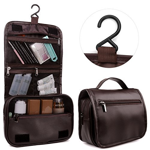 Toiletry Bag,Hanging Toiletry Bag by Happy David,Makeup Bags PU Leather with Several Zipper Pockets