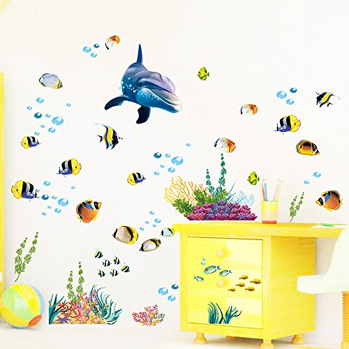 Winhappyhome Fishes Dolphin Children Height Measurement Chart Art Muraux Stickers pour Kids Room Garderie Décalcomanies Décor Amovibles