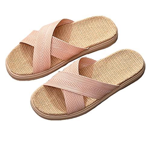 ULOHAN Sandalen Für Frauen, Pantoffeln Für Männer, Leinenhäuser Schuhe Für Männer, Kreativer Zopf, Dick-Sohlen-Kreuz-PU-Leder-Leinen-Hausschuhe, Hausschuhe Damen...
