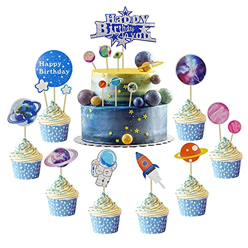 18 PCS Birthday Party Decorations, To the Space Astronaut Rocket Planet Themed Cake Toppers for Baby Shower Wedding Birthday Party Supplies