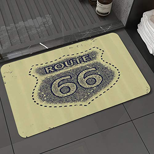 Alfombra de baño y Alfombra antideslizanteRuta 66 Estilo Vintage Señal de Carretera Autopista Histórica Viaje Famoso Arte Grunge,Alfombrilla de Ducha de Microfibra (50x80cm)