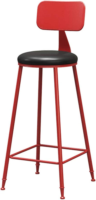 Jiubadeng Retro Fashion Style Metal Back PU Cushion high Stool bar Stool Home Dining Chair Leisure Stool (color   RED, Size   Height  75cm)