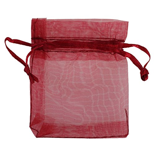 Fivejorya Burgundy Organza Bags 100pcs 4 x 6 Inch Gift Bags Organza Drawstring Pouch Jewelry Party Wedding Party Festival Gift Favor Bags Candy Bags
