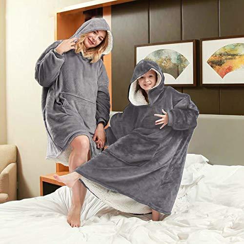 Nappo Hoodie Blanket Sweatshirt, Wearable Sherpa Fleece Oversized TV-Blanket (Standard Size, Light Grey)