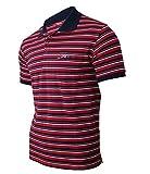 Soltice - Polo da uomo a maniche corte, a righe, con tasca sul petto, in misto cotone (da M a 3XL) [B] strisce rosse. XXL
