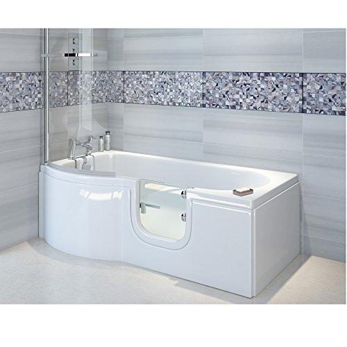 Badewanne mit Tür, Seniorenbadewanne 167,5x85/75x53cm mit Duschkabine,Wannenschürze und Ablauf/Sifon, Ausführung LINKS