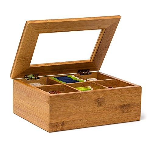 Relaxdays Scatola Porta The con 6 Scompartimenti, Coperchio in Vetro Salva Aroma, in Legno di Bambù, 9 X 28 X 16 cm, Naturale