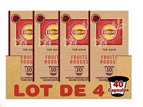 Lipton Thé Noir Fruits Rouges, Capsules Compatibles Nespresso Label Rainforest Alliance 10 Capsules - 25g - Lot de 4