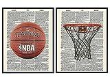 Basketball Wall Art Prints on Dictionary Photo Set -...