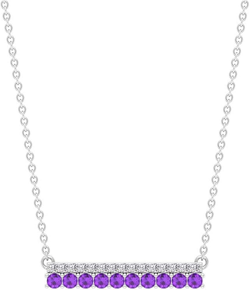 Amethyst Bar Pendant 1.20 Max 61% OFF MM Shaped Sale price Round Diamonds 2