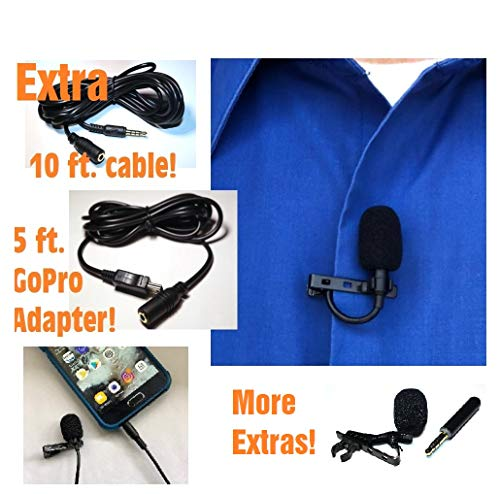 Clip On Lapel Lavalier Microphone for iPhone Samsung Galaxy YouTube Video Cameras Phone Mic with 10Ft Bonus Cable iPad Laptop GoPro Mac and PC Complete Professional Kit