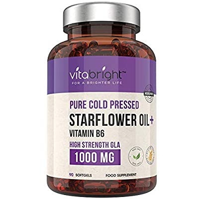 Borage Oil / Starflower Oil Capsules 1000mg - High Strength GLA - 90 Softgels - 3 Month Supply - Cold Pressed with Vitamin B6 - Made in The UK by VitaBright