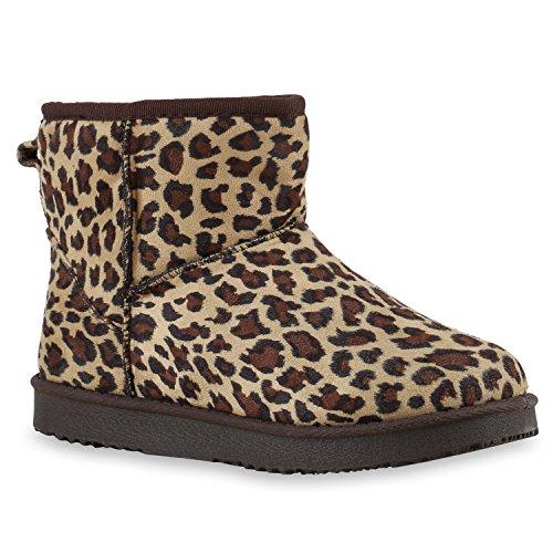 Warm Gefütterte Boots Damen Stiefeletten Schleifen Bommel Kunstfell Schlupfstiefel Leo-s Schlupfstiefeletten Schuhe 128015 36 Flandell