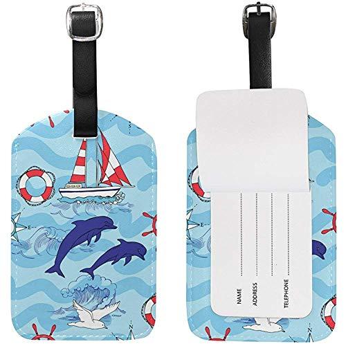 Netter Delphin-Gepäckanhänger-Reise-Identifikations-Aufkleber-Leder für Gepäck-Koffer 2 Stück