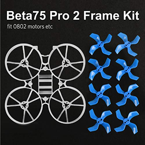 BETAFPV Beta75 Pro 2 FPV Whoop Frame Kit with Gemfan 2 Sets 40mm 4-Blade Props 1.0mm Shaft Blue FPV Propellers for 0802 Brushless Motor Tiny Whoop Drone Beta75 Pro 2 Beta65X