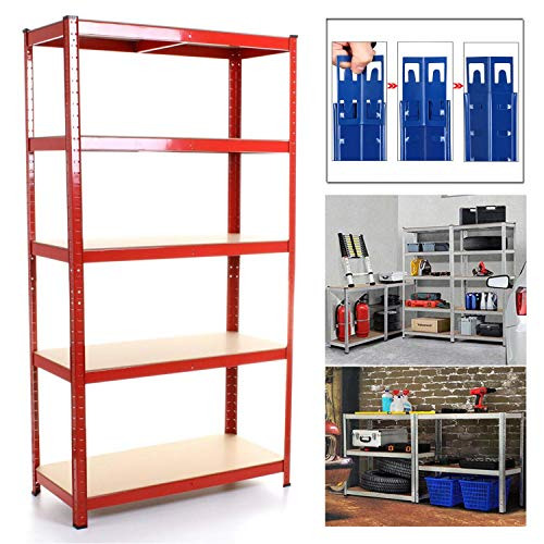 Shed Garage Shelving Unit for Storage, 180x90x40cm 5 Tier Storage Shelf Unit, Heavy Duty Metal Racking Workbench w/5 MDF Board, 875Kg Load Capacity(175Kg Per Shelf), Rubber Feet, Red