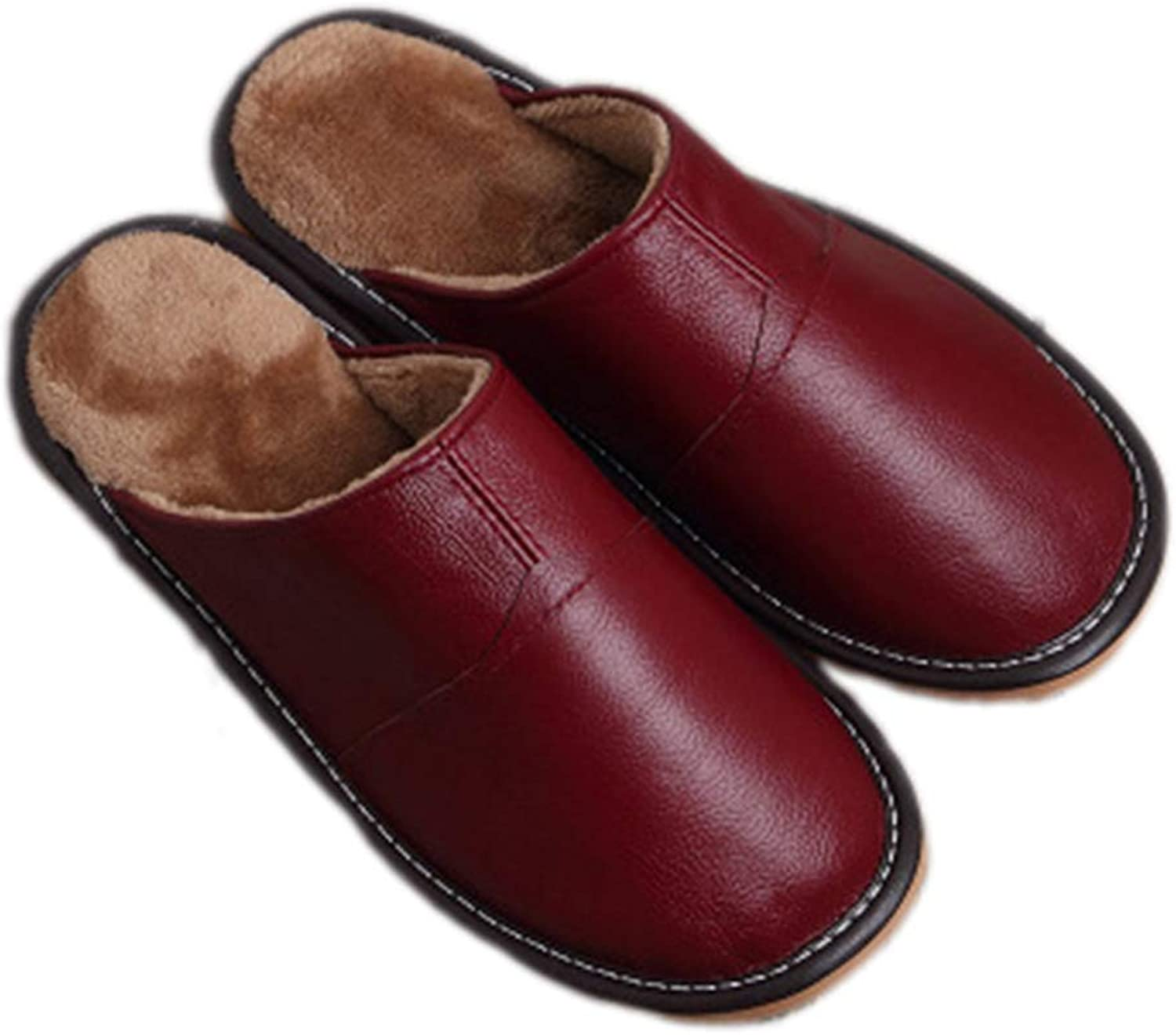 Nafanio Home Winter Slippers Genuine Leather Women Men Flats Plush Warm Indoor shoes