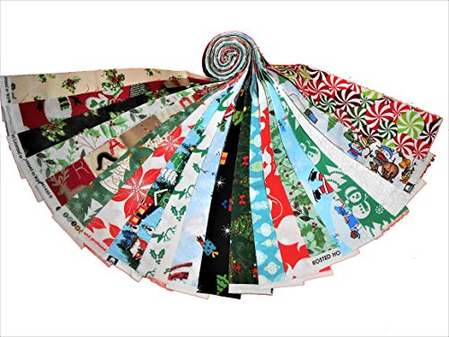 """20 2.5"""" Christmas Medley Jelly Roll 20 Different Prints-1 of Each #2 WOF"""