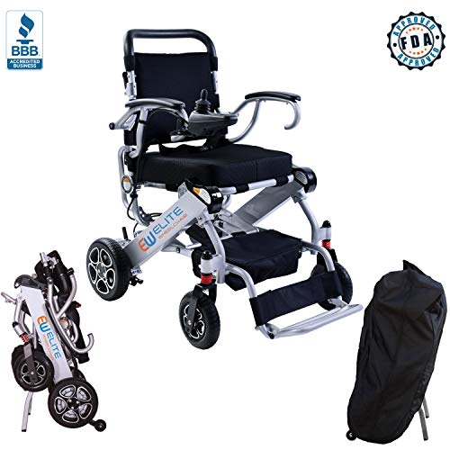 Elite Foldable Electric Power Wheelchair, Supports up to 265lb, Weighs only 50lb, 12 Mile-Range with 2 Batteries, Fits Any car Trunk, Safe for Air Travel, Cover Bag Included, Model N5513A (Silver)