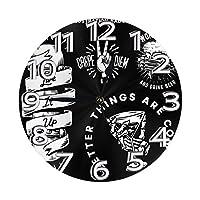 クールなレトロな動機付けバッジ 壁掛け時計 おしゃれ デジタル ミュート 円形 掛け時計 置き時計 目覚まし時計 インテリア 装飾