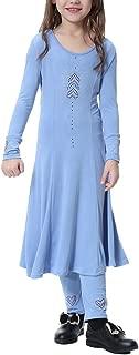 Kids 2pcs Muslim Islamic Girl's Abaya Burka Arab Prayer Dress Robe+Long Pants Leggings Outfits Dance Clothes Set