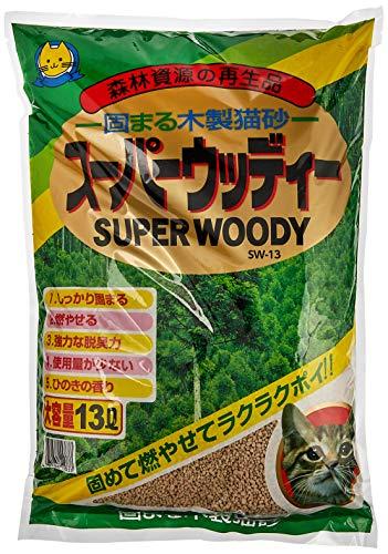 常陸化工 猫砂 スーパーウッディー 13リットル (x 4) (ケース販売)