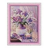treseds 38 * 47 cm de la Costura Hecha a Mano contada del patrón de Punto de Cruz Bordado Set Kit 14CT púrpura florero Punto de Cruz decoración del hogar Costura (Color : Multicolor)