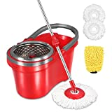 HAPINNEX Spin Mop Wringer Bucket Set - for Home Kitchen Floor Cleaning - Wet/Dry Usage on Hardwood & Tile - Upgraded Self-Balanced Easy Press System with 2 Washable Microfiber Mops Heads